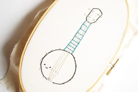 Musical Folk - Cute Instrument Hand Embroidery Pattern PDF