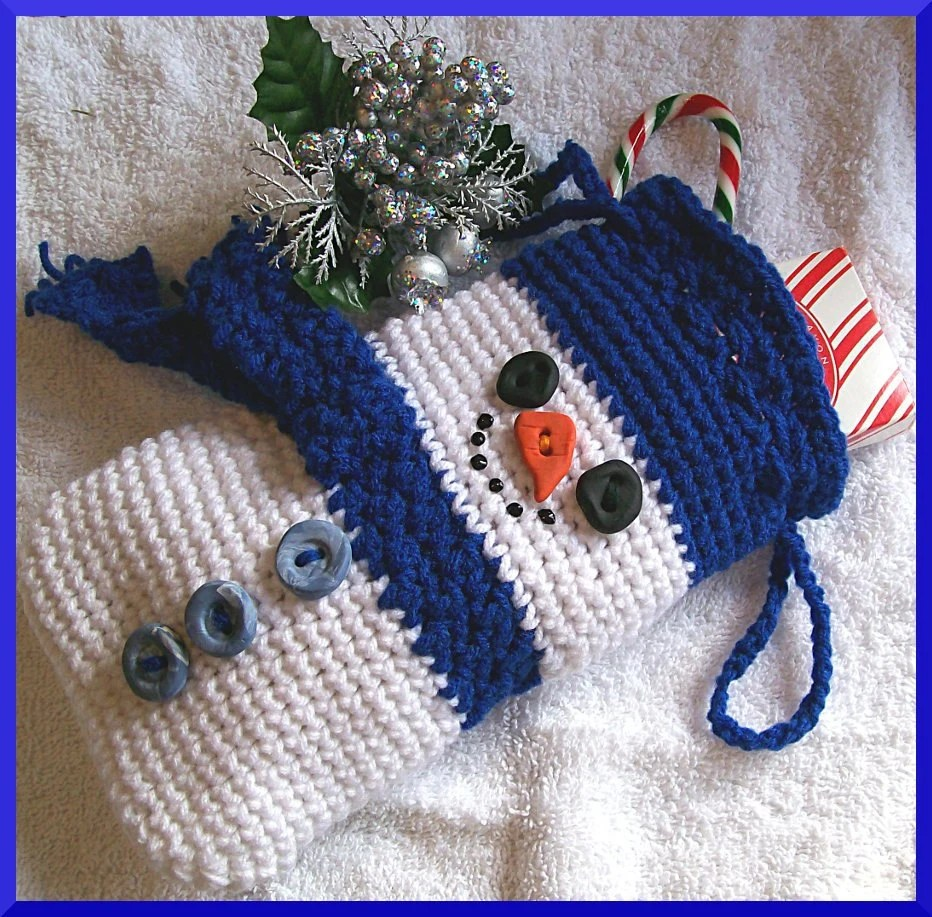 Crochet Pattern Christmas Gift Bag Snowman