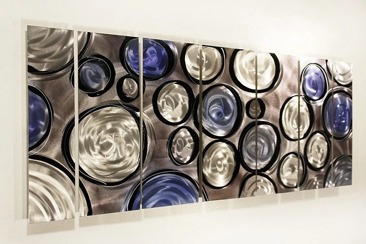 Silver Blue & Black Modern Metal Wall Art Handpainted