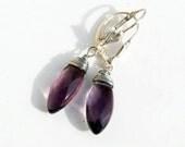 Amethyst earrings purple marquise sterling silver wire Wedding earrings - expressyourself