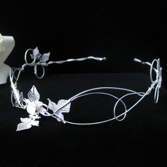 Woodland Ivy Leaf Headpiece, Renaissance Bridal Wedding Circlet, OOAK, Handmade, Sterling Silver