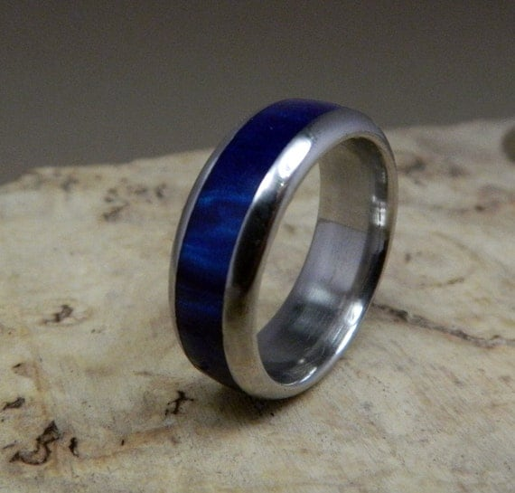 Stainless Steel Ring Blue Ring Acrylic Ring Wedding Ring