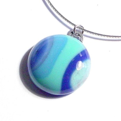 Beach. Fused Glass Pendant Necklace