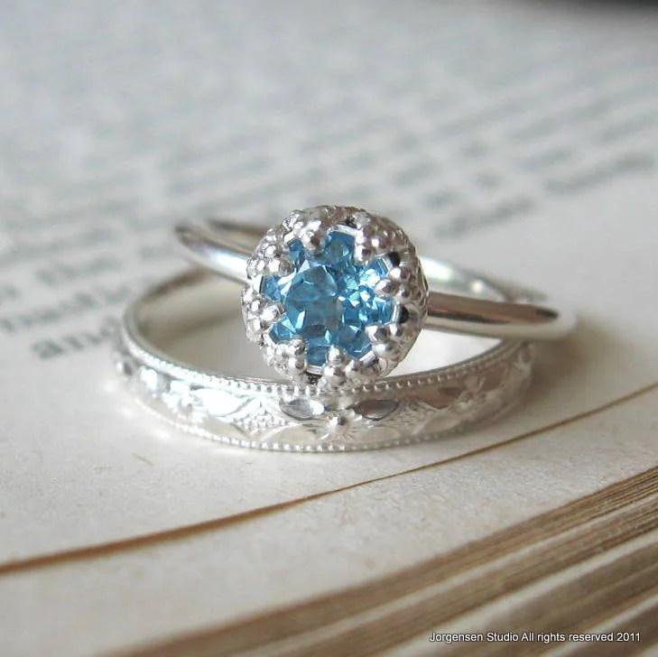 Blue Topaz Alternative Engagement Ring Promise Ring Let Them