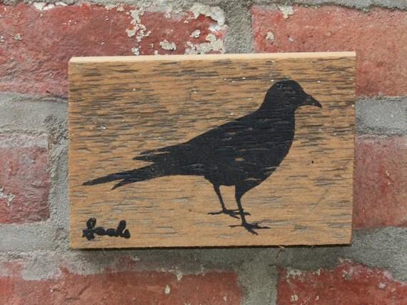 Black bird Reclaimed barn wood screen printed wall hanging