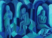 Pastel Painting: Reflections in Blue I - Aqua & - Royal Blue Angels - Art Card, ACEO Edition - DianeClancy