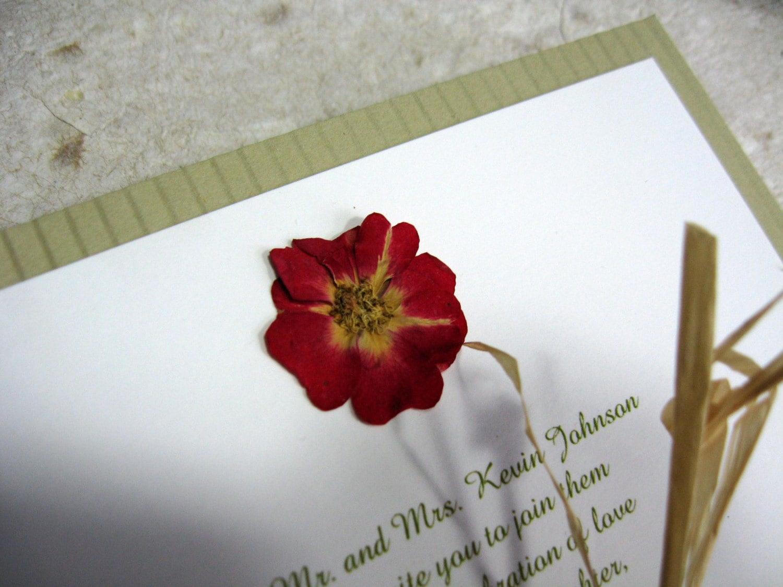 Real Pressed Flower Wedding Invitations Sample Set