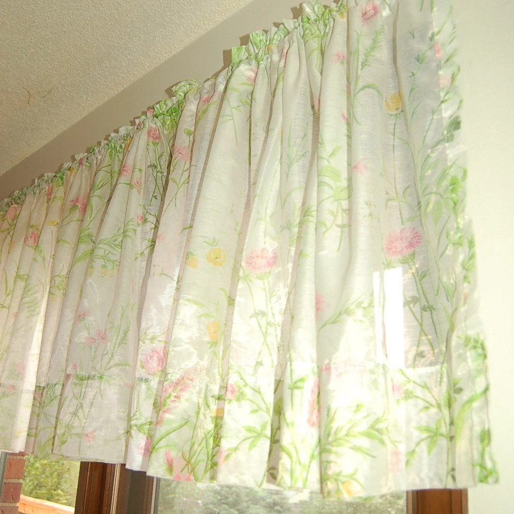 Vintage Sheer Green And Pink Floral Curtains By StephieD On Etsy