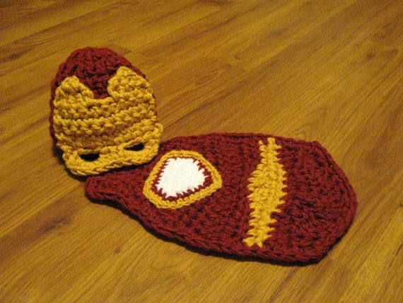 Crochet Cuddle Critter Cape Set – Iron Man – Photography Prop – Newborn – Made to Order by justforuembroidery