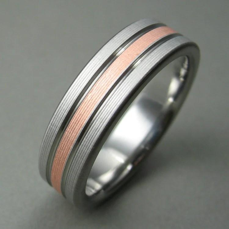 Mens Wedding Ring Titanium Copper Comfort Fit