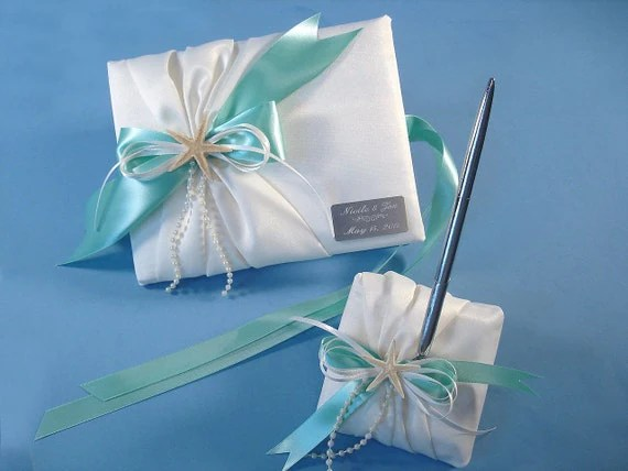 Wedding Guest Book Set For A Starfish Beach By