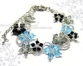Swarovski Crystal Bracelet, Flora bracelet black and blue with silver clasp and adjustable chain by CandyBead - candybead