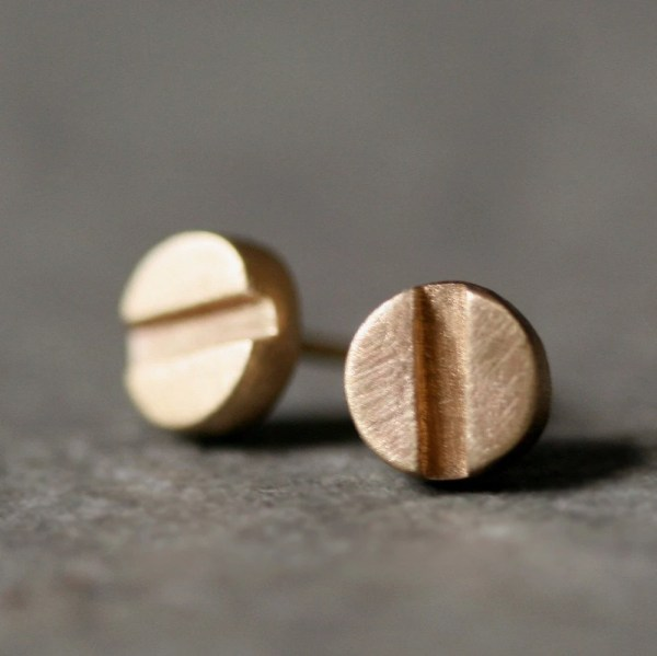 Screw Head Stud Earrings in 14K Gold