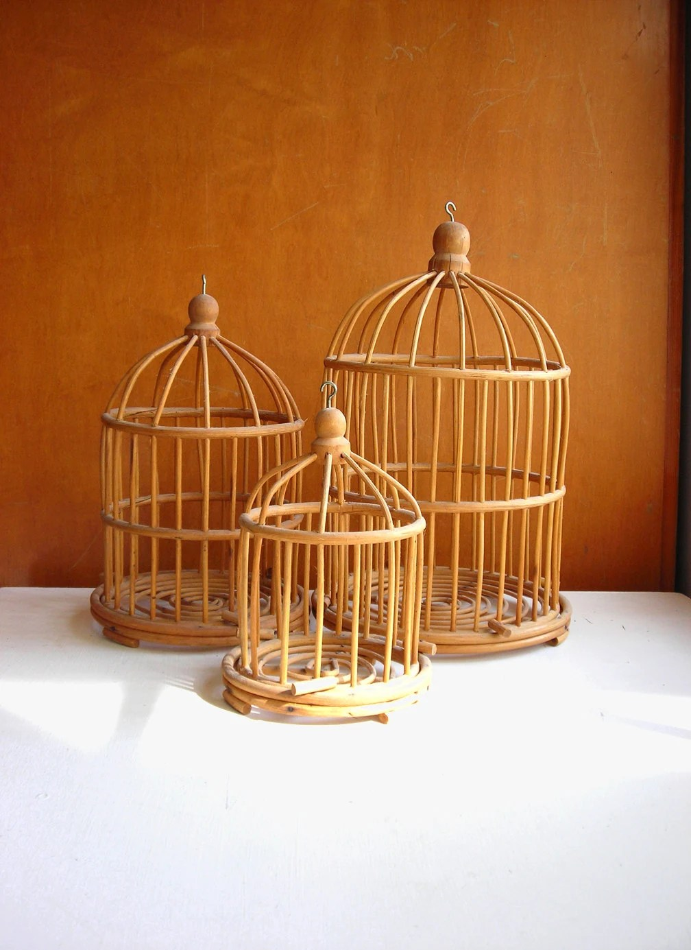 Hanging Bird Cage Set 3 Bamboo Or Rattan By