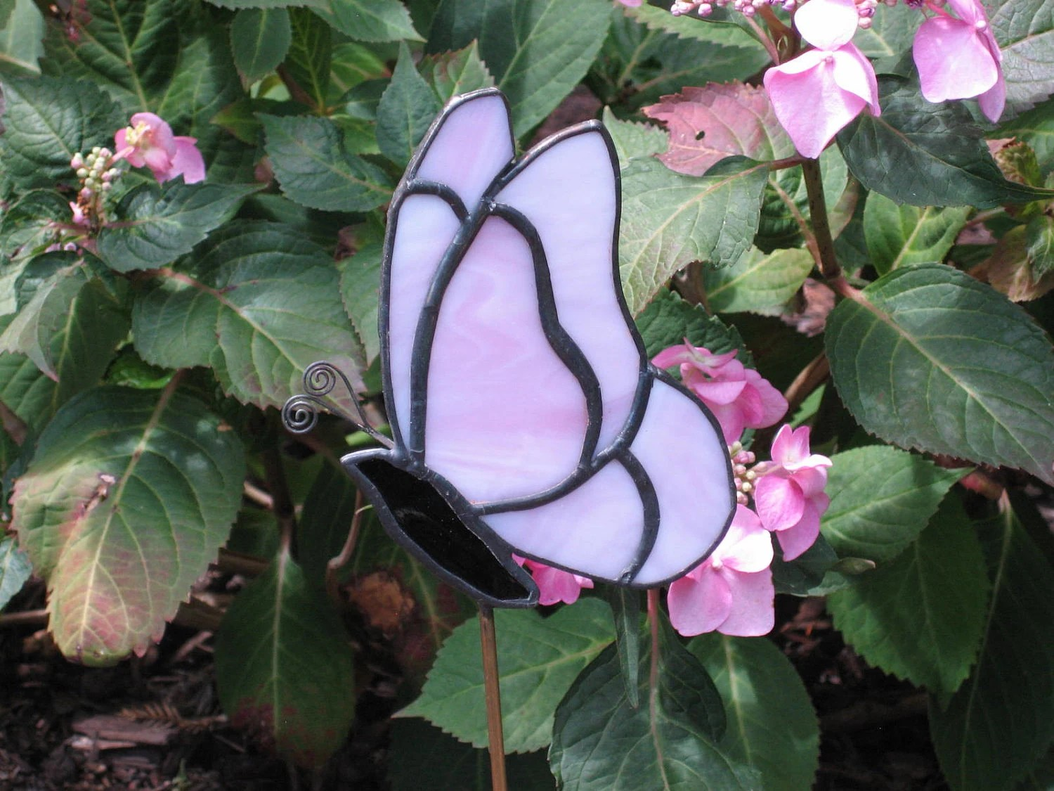 Pink Butterfly Stained Glass Garden Stake Plant By GlassPizazz