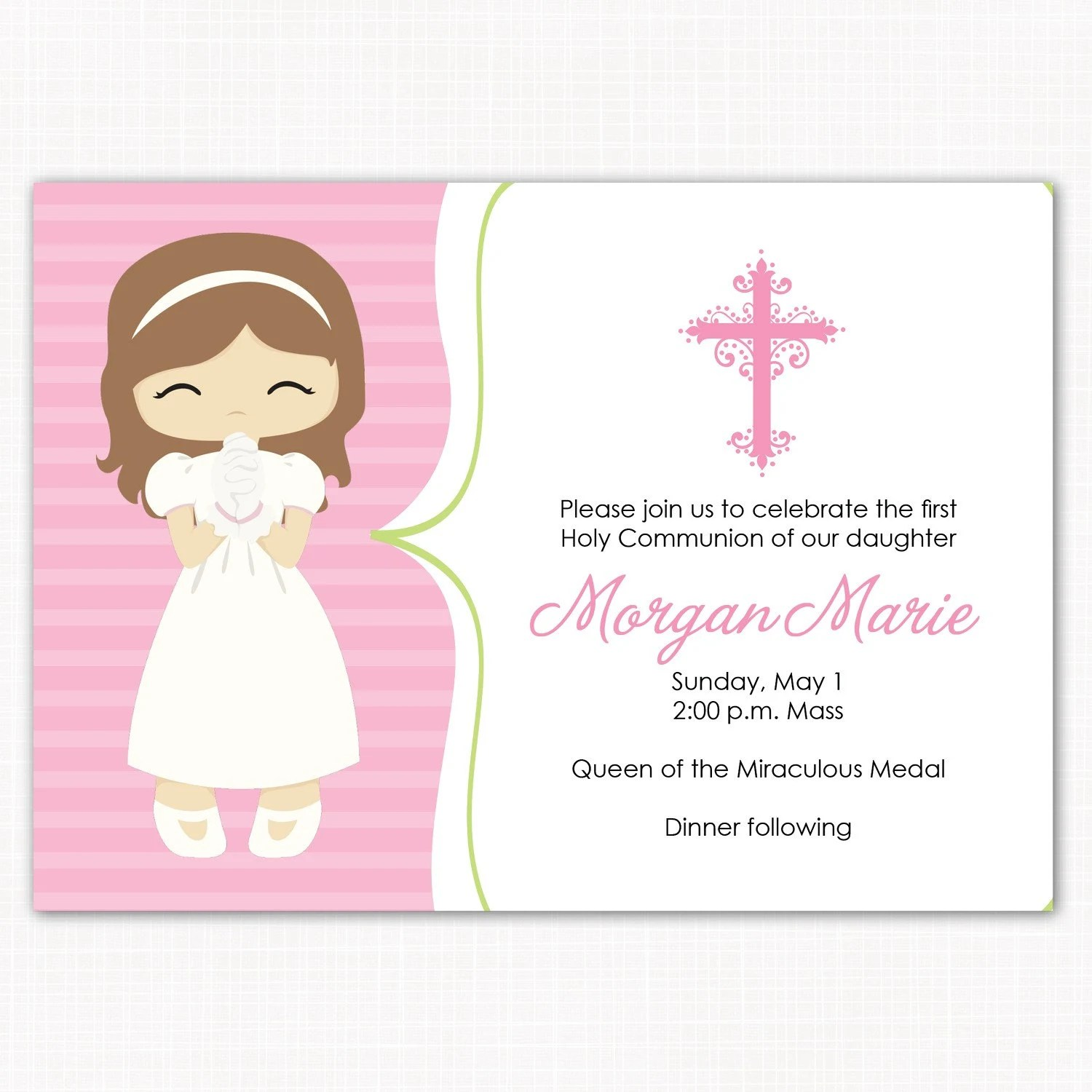 First Communion Invitation First Communion Girl Pink First