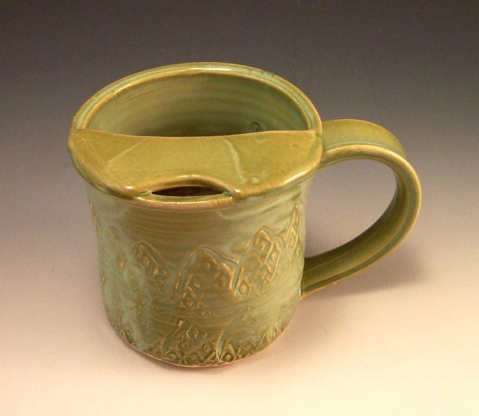 Pottery Mustache Mug in French Country Green