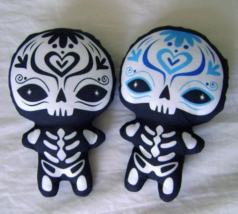 Screen Printed Sugar Skellies Plush Day of the Dead Halloween Dia de los Muertos by Kat Brunnegraff