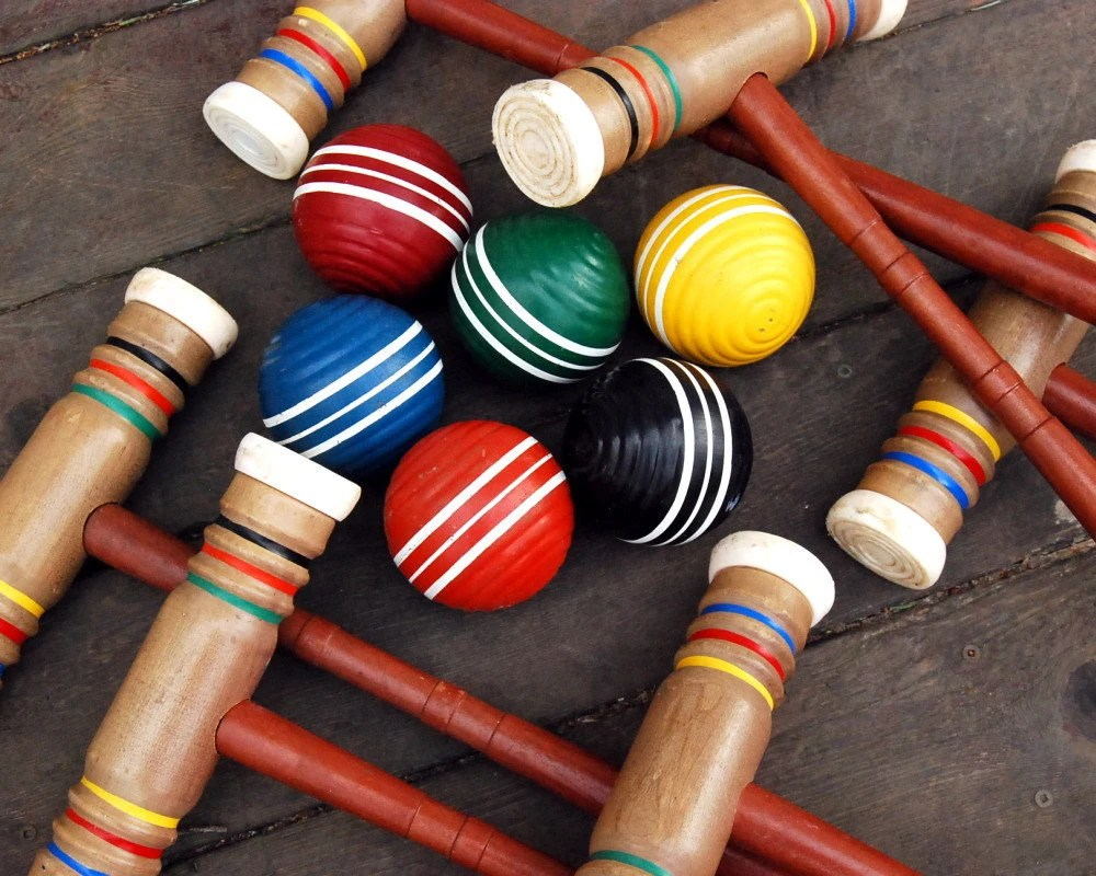 Vintage Wooden Croquet Set With Stand Croquet Balls Mallets