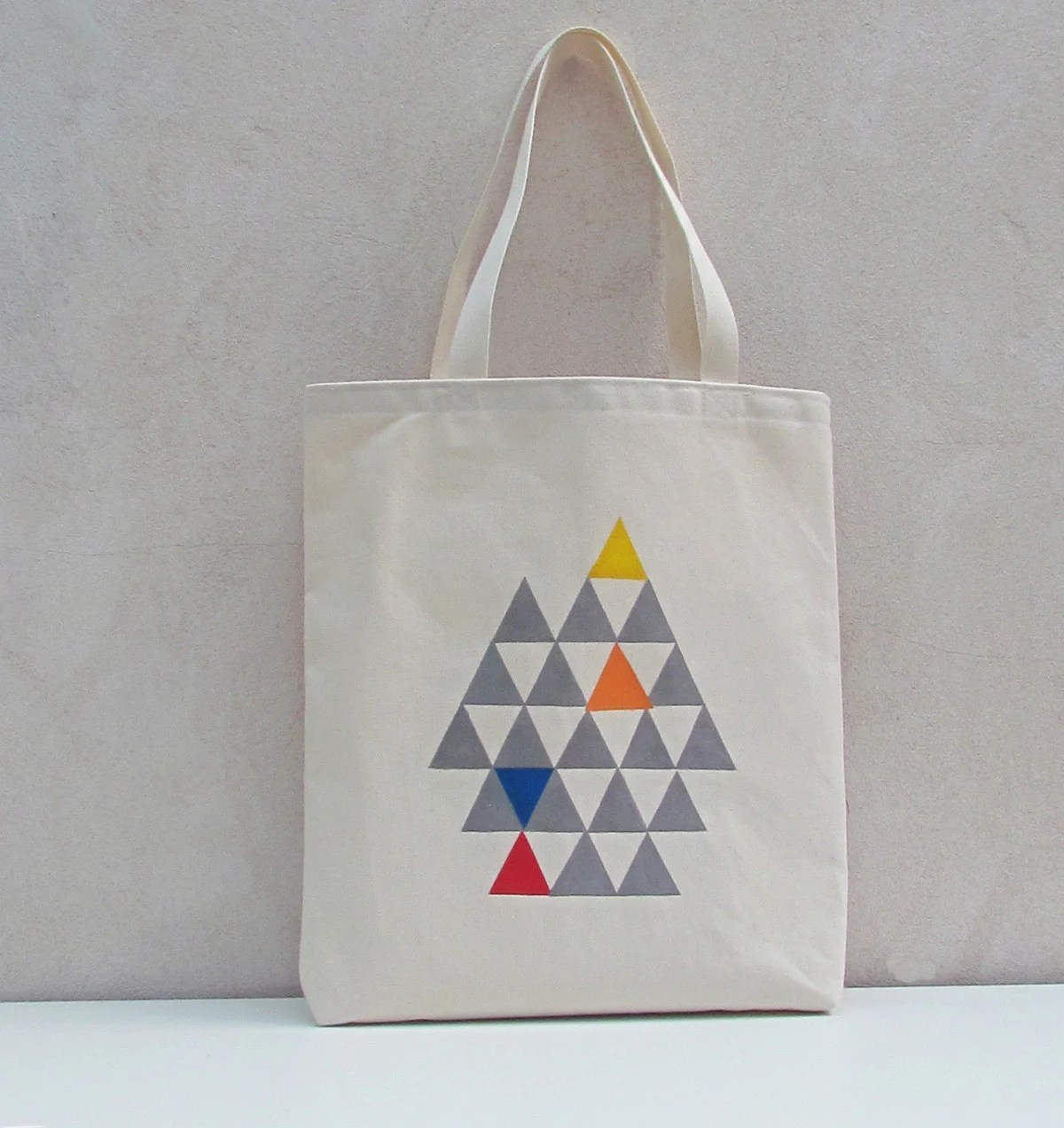 Tote bag canvas cotton with handprinted triangles - handmadeinhighbury