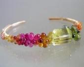 Sunbeams and Rainbows...Lemon Quartz Ruby Sapphire Encrusted Signature Original Gold Filled Cuff Bracelet - bellajewelsII