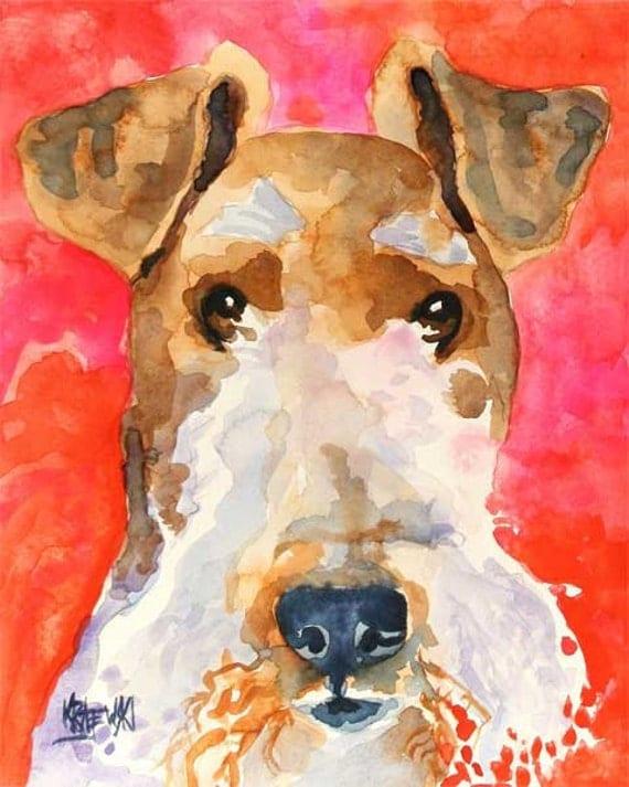 Wire Fox Terrier Art Print Of Original Watercolor Painting