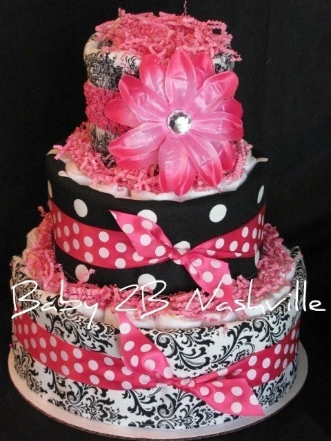 Items Similar To Girls Diaper Cake In Hot Pink And Damask