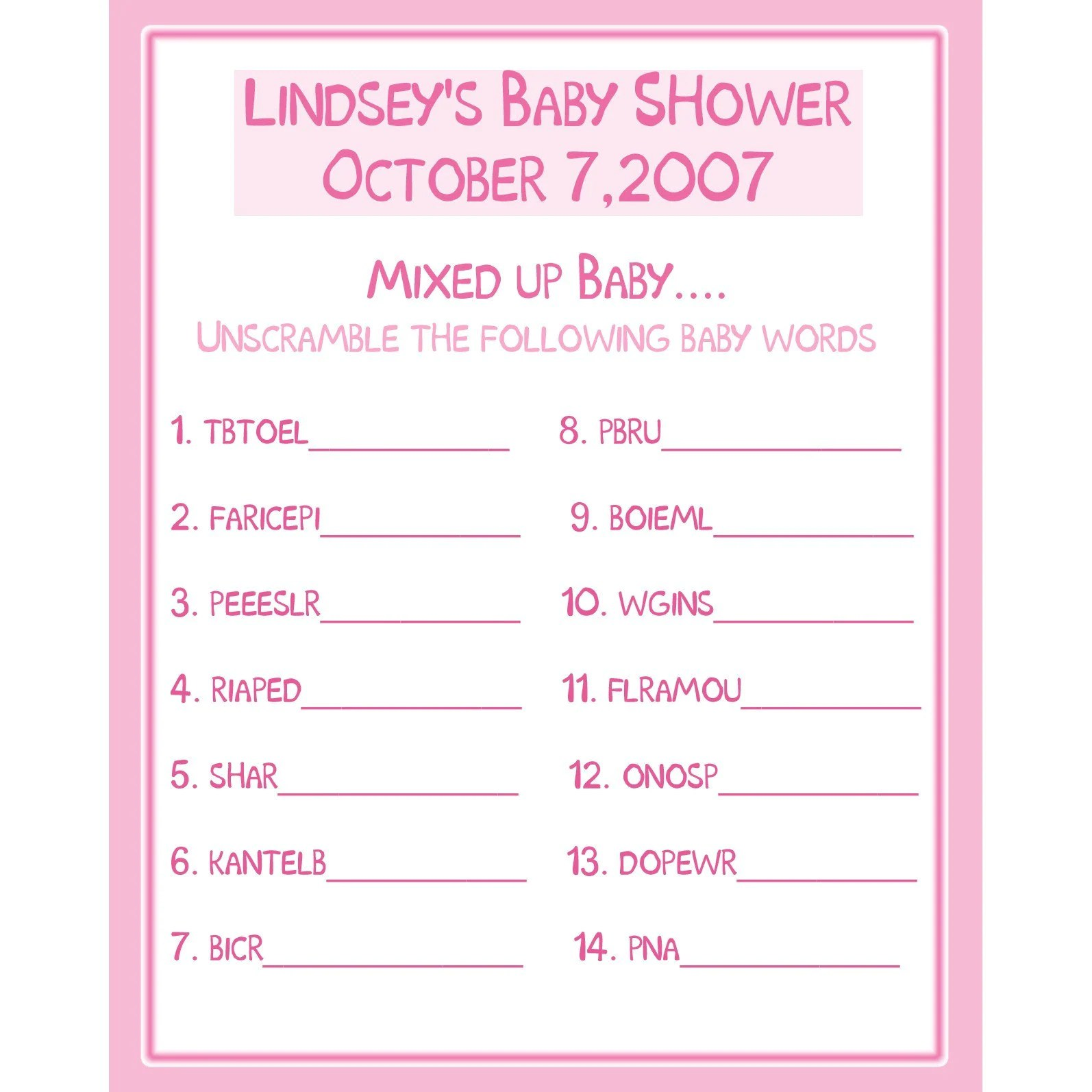 24 Personalized Baby Shower Game Cards Word Scramble