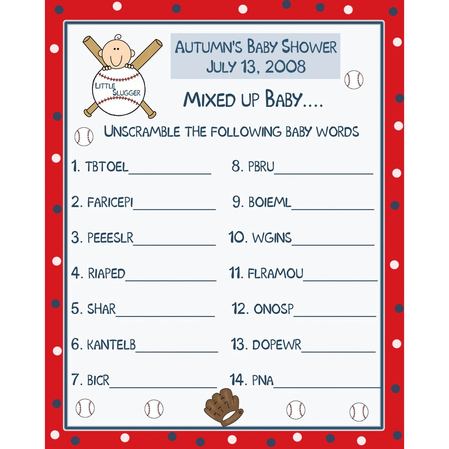 24 Personalized Baby Shower Word Scramble Game Cards Baseball