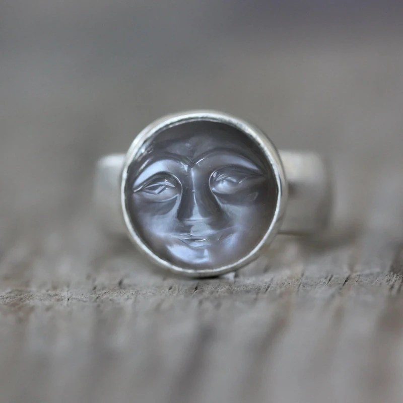Size 8 Quarry Gray Moonstone Ring Smiley Carved By Onegarnetgirl