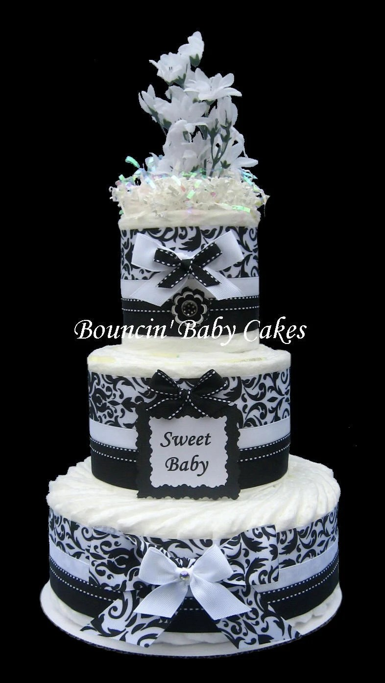 Black And White Damask Baby Shower Diaper Cake Centerpiece