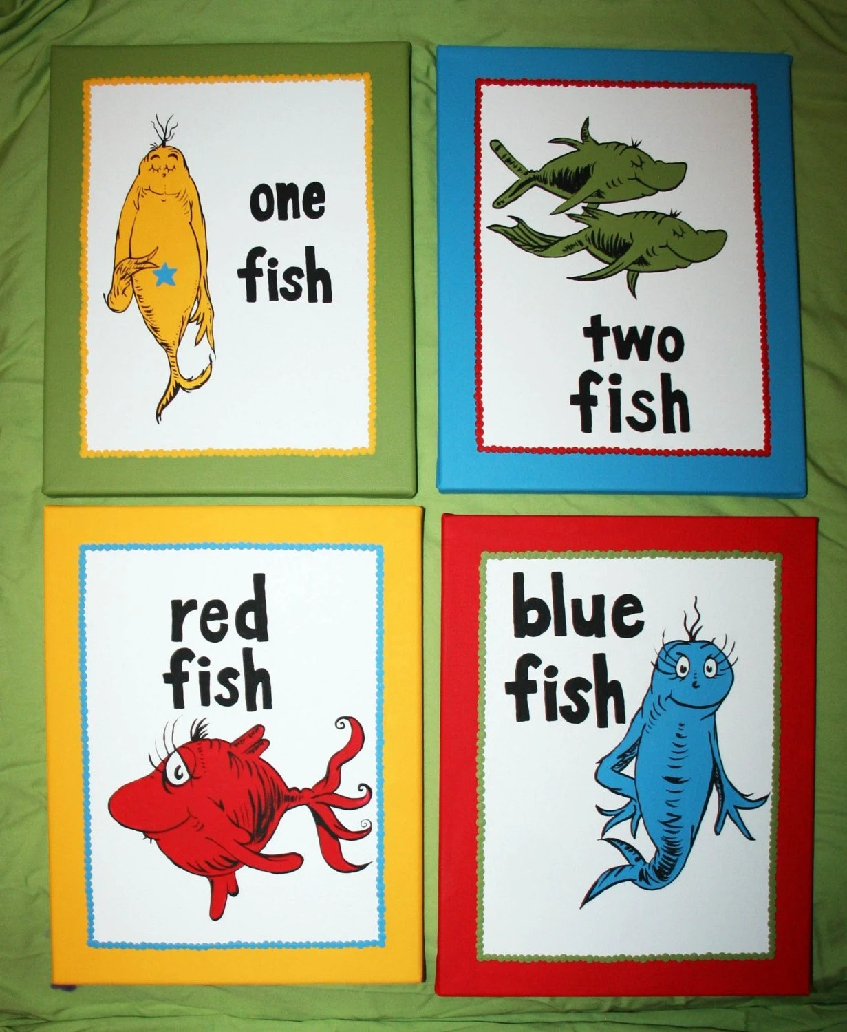 One Fish Two Fish Inspired Set Of 4 Dr Seuss Custom