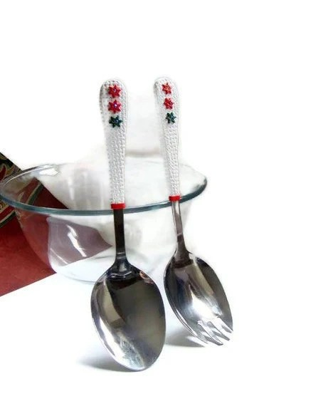 Christmas Salad Serving Set. Red White Green Salad's Fork and Spoon Handmade home decor - efiwarsh