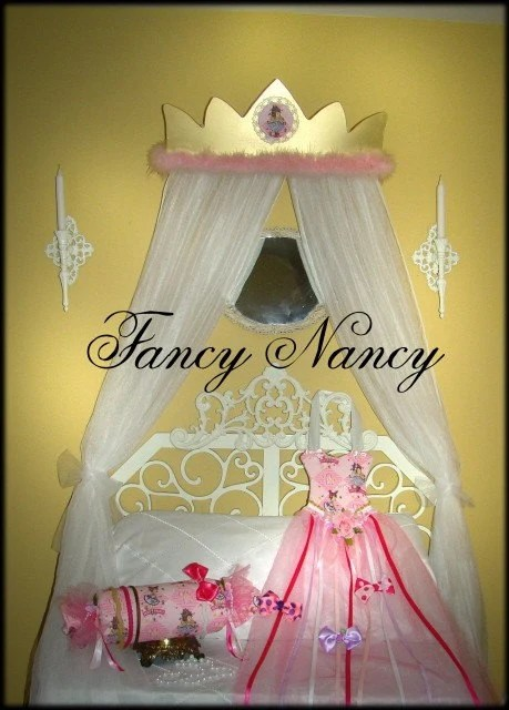 FANCY NANCY Custom Princess CROWN Canopy For Girls Bed With