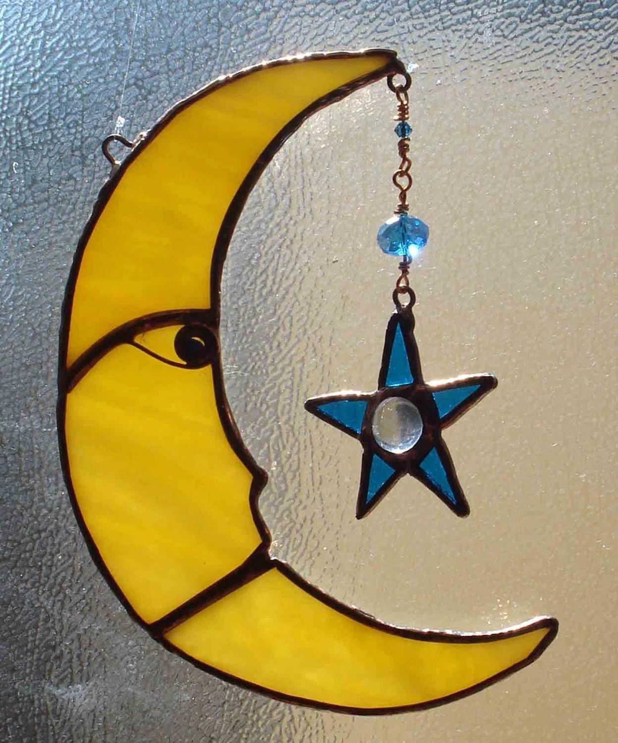 Moon And Star Sun Catcher In Stained Glass Celestial Art With