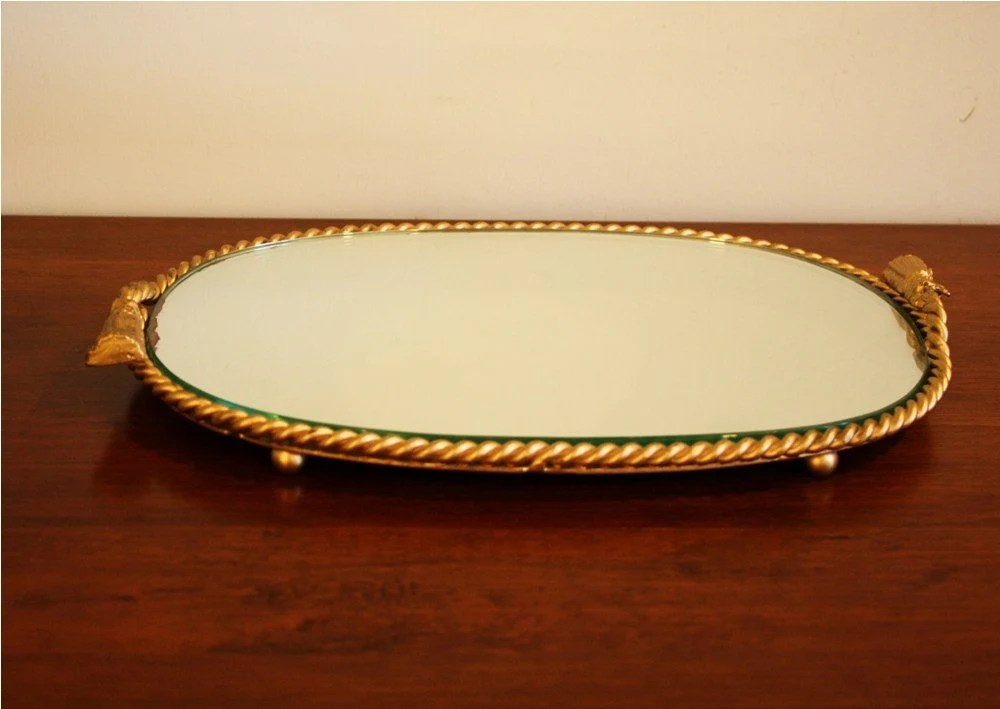 Oval Mirror Vanity Tray With A Metal Gold Rope Frame