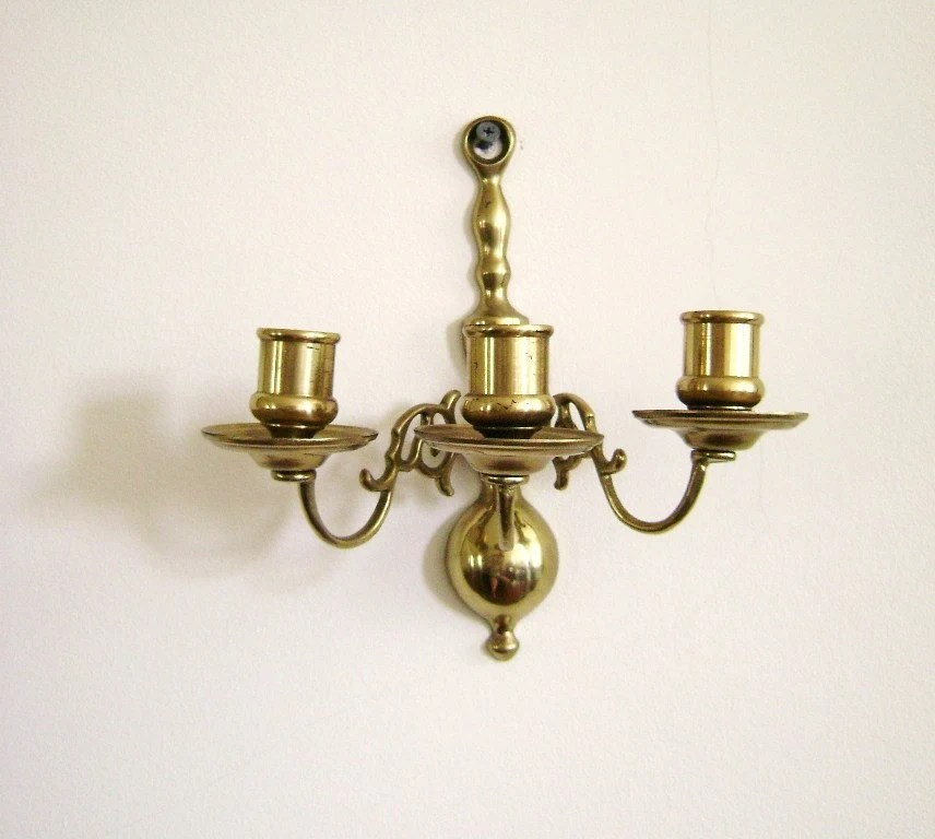 S A L E Vintage candle wall sconce brass three arm on Antique Style Candle Holder Sconces id=92899