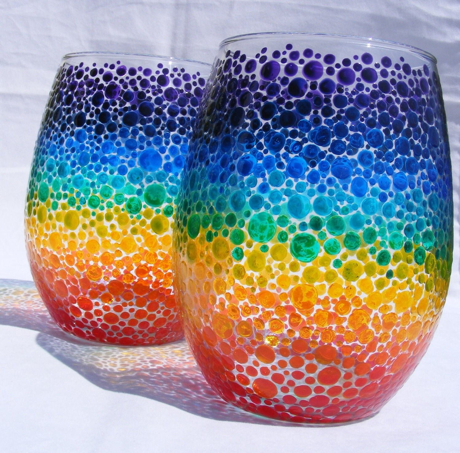 Rainbow Bubbles Hand Painted Wine Glasses Or Candle Holders