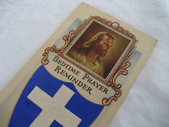 VINTAGE 1943 Religious Bedtime Prayer Reminder Paper Card