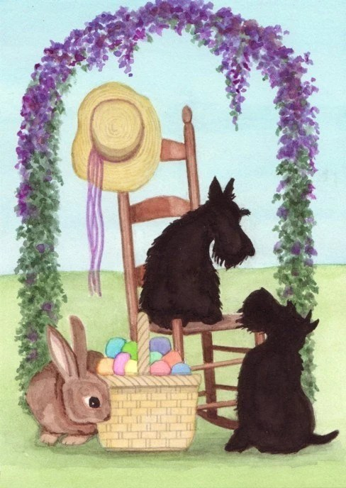 Scotties Scottish Terriers At Easter Lynch Signed Folk Art