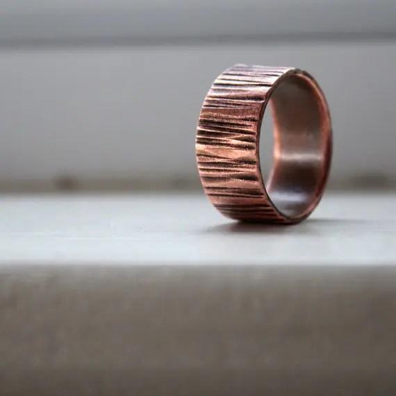 Copper Wood Grain Tree Bark Mens Band Ring Faux Bois