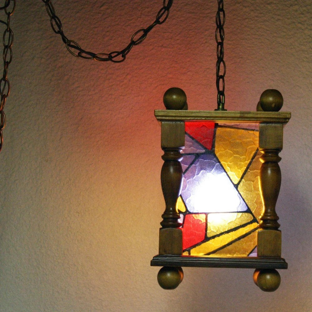 Antique 1930s Stained Glass Hanging Light Fixture Vintage