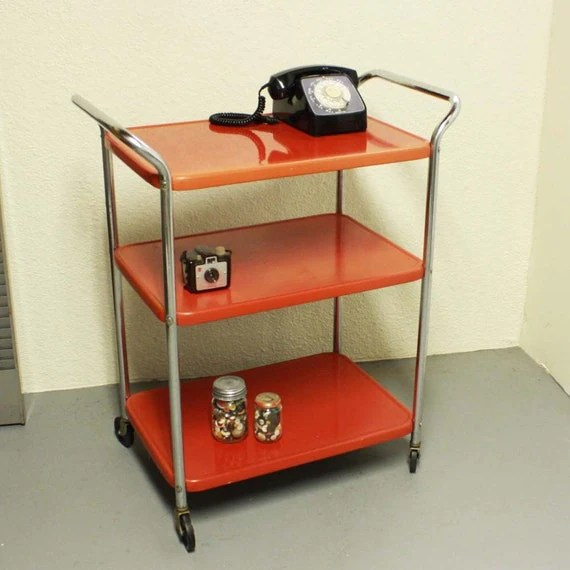 Vintage Metal Cart Serving Kitchen Red Wheels