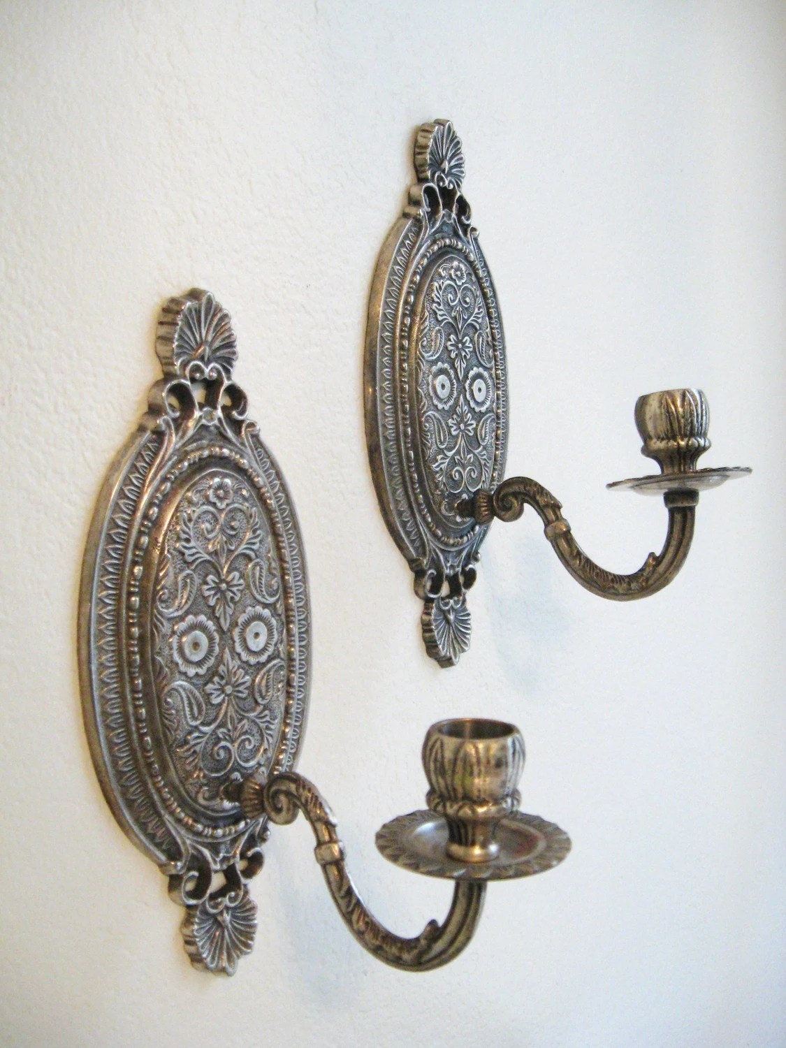 pair ANTIQUE Silver FRENCH Style wall SCONCE by fabulousmess on Silver Wall Sconces For Candles id=22292