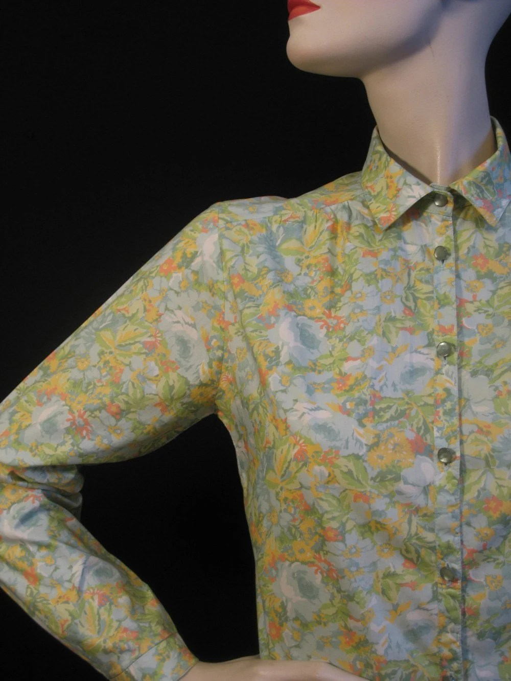 Vintage 70s Liberty Of London Floral Print Blouse S M By Mr