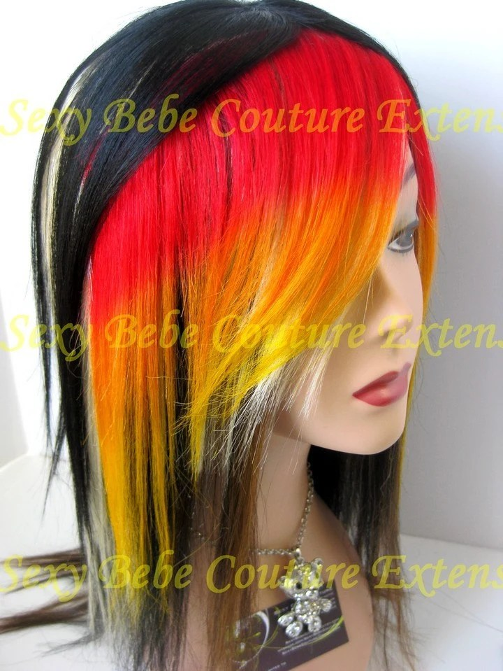 WILDFIRE RED ORANGE YELLOW Clip In Hair Extensions