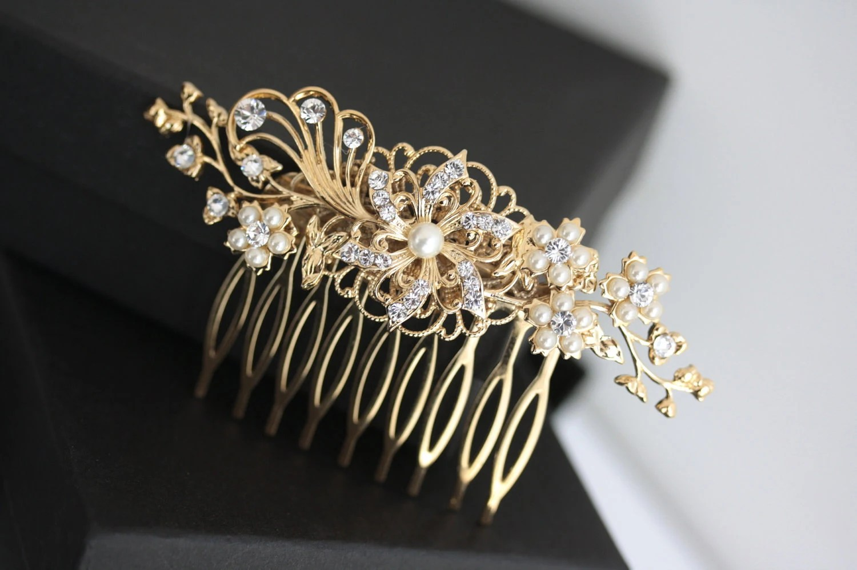 Gold Wedding Hair Accessories Flower Hair Comb Gold Bridal