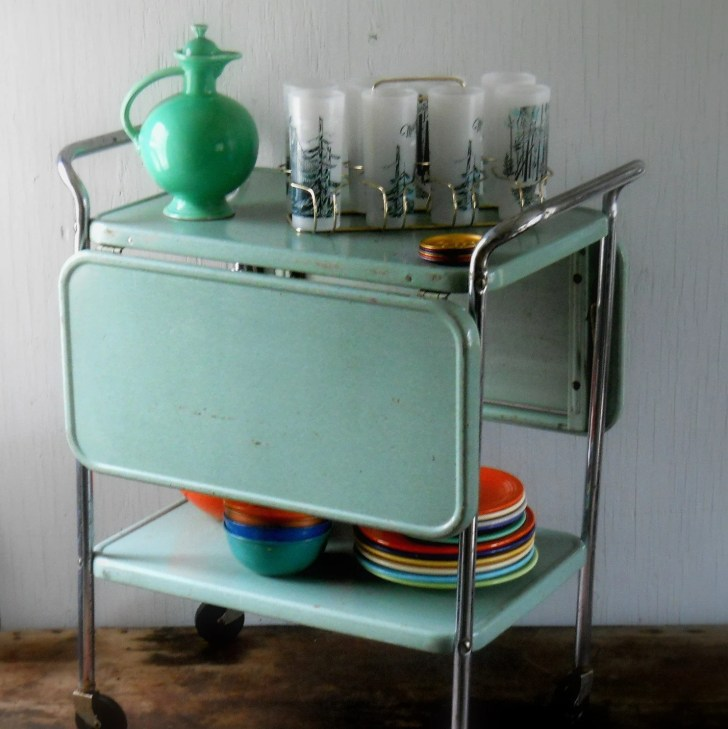 Vintage Rolling Metal Cosco Kitchen Cart Lisabretrostyle2