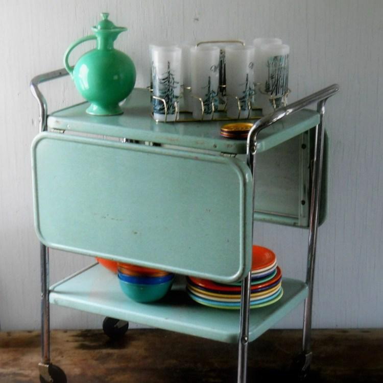 Vintage Rolling Metal Cosco Kitchen Cart Lisabretrostyle2