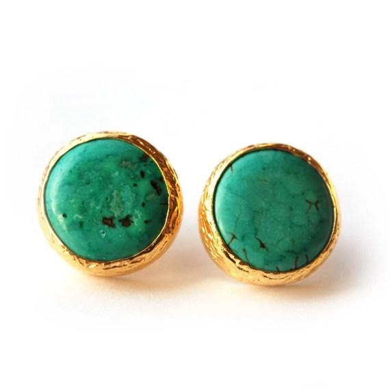 Turquoise Stud Earrings in 18K gold Vermeil over Sterling Silver, toosis